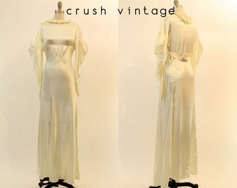 30s Wedding Dress Liquid Satin XS / 1930s Wedding Gown Bias Cut / The Josephina Gown