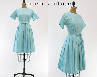 50s Dress Shirtwaist Small / 1950s Vintage Cotton Button Back Dress / Rue de Provence Dress