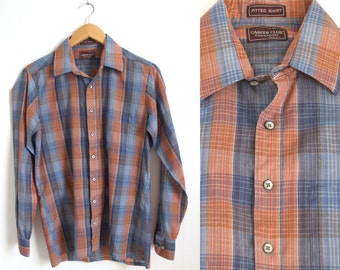 Men's Size M Vintage 80s Career Club Counterpoint Fitted Shirt // Size 15 15 1/2 medium 1980s peach and blue plaid