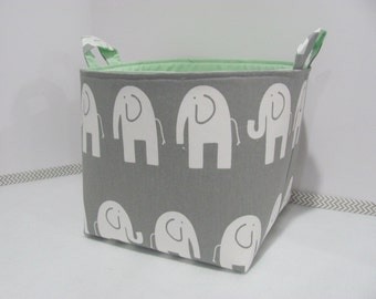 XL EXTRA LARGE Fabric Basket - Oraganizer -  Storage Container - Toy Bin - Home Decor - Nursery - Kids Room - Grey/White Elephant