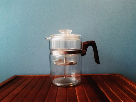 Pyrex Flameware 9 Cup Vintage Glass Stovetop Coffee Percolator
