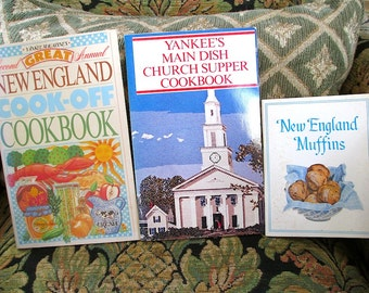 Foods of New England from three cookbooks 1980s  New England Cook-off   Yankee Church Suppers   New England Muffins