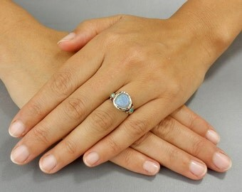 Moonstone Ring, Sterling Silver Ring, Round Faceted Moonstone Abundance Ring, Birthstone Ring, Moonstone Ring, Unique Engagement Ring