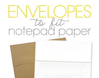 BLANK ENVELOPES for notepads - A1 envelope size - set of 10