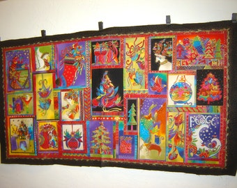 Fabric Clothworks Laurel Burch Out of Print RARE Holiday Celebrations Christmas Panel 23 different images cats Angels trees Peace