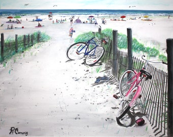 Two Bikes on Long Beach Island Watercolor 11x14 .  Prints are available.  Message me!