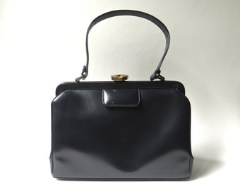 Mid Century vintage Midnight Blue Leather Handbag / Mam'selle Original New York
