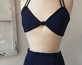 Naughty Navy Tie Back Bikini Top