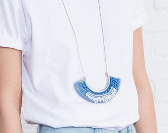 Lace and fringe necklace - HULA - Denim fringe with geometric lace, vintage silver tone findings and wood beads