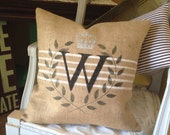 Burlap Pillow  with Initial  in French Grainsack style   Cottage Chic/Farmhouse/Coastal Cottage/Beach house/ Lake House