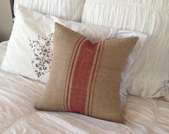 French Grainsack  Red Stripe Burlap Pillow   Farmhouse/Nautical/Beach/Coastal/Lakehouse/Rustic