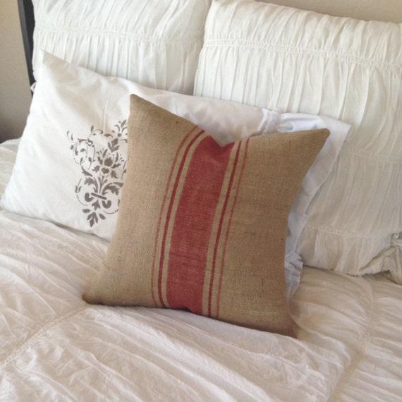 French Grainsack Red Stripe Burlap Pillow