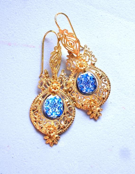 Portugal Antique Azulejo Tile Replica SILVER Filigree in 24k Gold Bath Queen's Earrings - Brincos da Rainha  AVEIRO Santa Joana Convent 1458