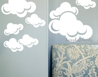 Cloud Wall Decals Vinyl Stickers Cloud Decal White Clouds Sky Bedroom Nursery Playroom Decor Baby Girl Baby Boy Airplane Puffy Clouds Decal