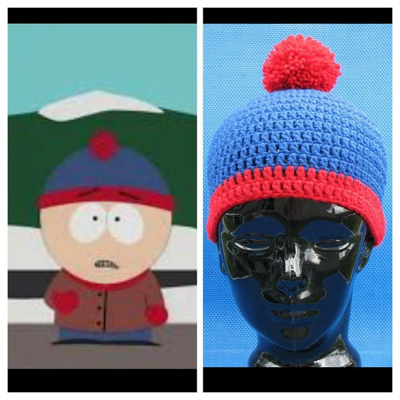 South Park Crochet Stan Marsh Beanie hat skull cap blue red stripe crocheted with LoTs of love Cosplay Halloween Christmas Gift