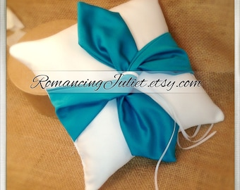 Knottie Satin Ring Bearer Pillow...You Choose the Colors....Buy One Get One HALF OFF..shown in white/teal