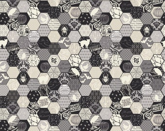 BLACK FRIDAY SALE  - Happy Haunting - Hexagon in Gray - Sku C4673 - 1 Yard - by Deena Rutter for Riley Blake Designs