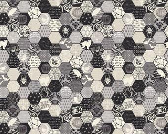 SUMMER SALE  - Happy Haunting - Hexagon in Gray - Sku C4673 - 1 Yard - by Deena Rutter for Riley Blake Designs