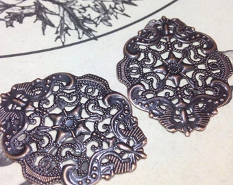 20 Filigree Oval Components Antique Copper Plated