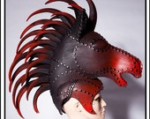 The Red Horse…. Pony Headdress in Red and Black with Studs Headdress