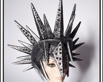 Putrescence … Spiked Helmet in Black and Pewter Headdress