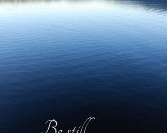Still water print tranquil water art, lake house decor, nature wilderness wall art blue lake print, black and white lake inspirational photo