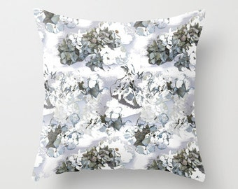 Hydrangea pillow, home decor pillow, hydrangea cushion, flower photo pillow, gray soft furnishing, floral bedroom art, living room decor