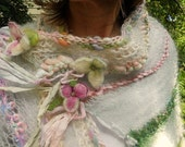 handknit art yarn gossamer enchanted forest faerie patchwork wrap - summertime daydream