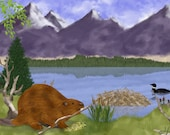 Painting ACEO Beaver,  Lake, Mountains, Wilderness, Original Graphic Design Art Card