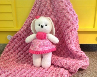 Wonderful Hand Knit Baby Blanket with matching Bunny