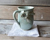Stoneware Tea Cup  with roses without dots - 2nd design  - Handmade  Stoneware Ceramics  - light blue - mug