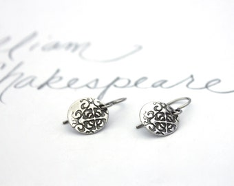 sterling silver earrings . dangle earrings . simple tudor rose earrings . bridal earrings valentine jewelry peacesofindigo . ready to ship