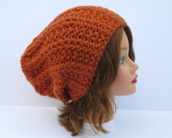 Baggy Beanie Hat Crochet Pattern : Crochet Slouchy Hat Unisex Baggy Beanie In Pumpkin Chunky
