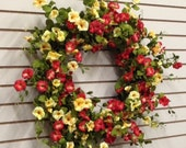 Wreaths, Spring Wreath, XL Spring Wreath, Wreath,Red Yellow Petunias, Spring Door Wreaths, Petunia Hanging Basket, Petunias, Summer Wreaths