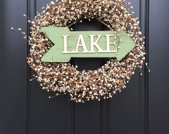 Wreaths, Berry Wreaths, Cream Berry Wreaths, Lake House Decor, Cottage Decor, Vacation Home Decor, Fishing Decor, Unique Gifts, Cabin Decor