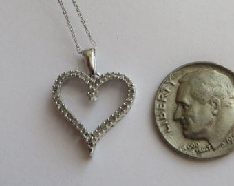 Vintage bling, 10K w gold Diamond Heart Necklace, 18 inches long, 40+ tiny real diamonds, free US first class shipping