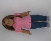 Jeans and Pink Hooded Blouse, Fits 18 Inch American Girl Dolls