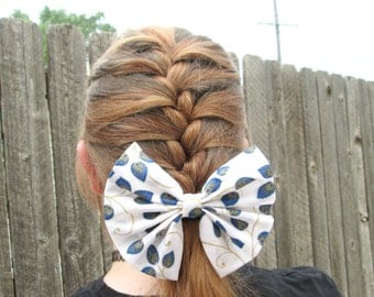 Peacock Feather Ponytail Hair Bow