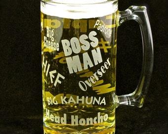 Boss Man Beer Mug, Present for Boss, Husband, Dad, Unique Gift for Guys, Men
