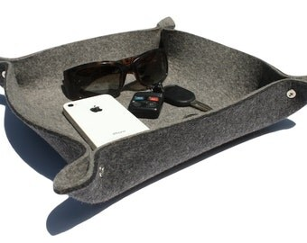 Men's Valet Tray Leather Alternative Catchall Catch All Dish Father's Day Gift for Him in 5mm Thick Merino Wool Felt