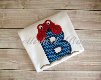 Crab with Initial Applique T-shirt or Onesie for Girls or Boys