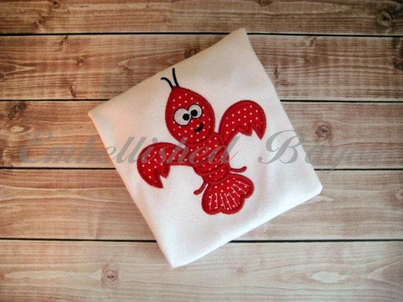 Crawfish Fleur de Lis Applique Personalized T-shirt for Girls or Boys