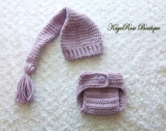 3 to 6 Month Old Baby Girl Stocking Hat and Diaper Cover Set Soft Chunky Purple Yarn