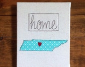 """Aqua Green Custom State Wall Art - Home State Love Inspirations Wall Art - fabric wrapped canvas 8""""x10"""" - free motion embroidery"""