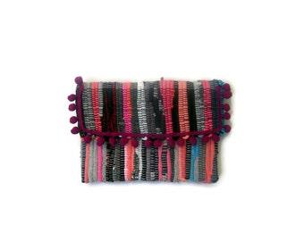 Envelope Pom Pom Boho Bag. Bohemian Kilim Purse. Colorful Womens Gift. Hippie Bag. Kourelou Boho Clutch Bag. Gift for Her. Festival Wear