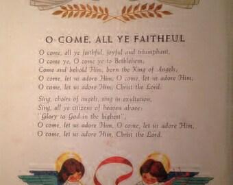 1957 O Come, All Ye Faithful Antique Illustration