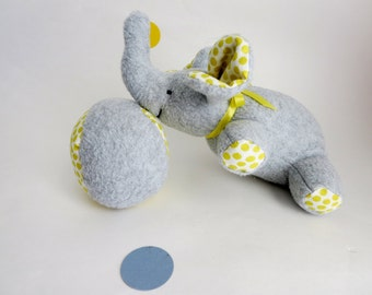 Elephant  Plush - Baby toddler Toy - Stuffed Animal - Grey fleece with yellow polka dots accents - Small