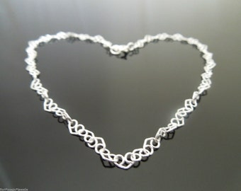 "3.5mm Sterling Silver Curly Heart Link Chain Bracelet Or Anklet 6"" 7"" 8"" 9"" 10"" 11"" 12"" etc"