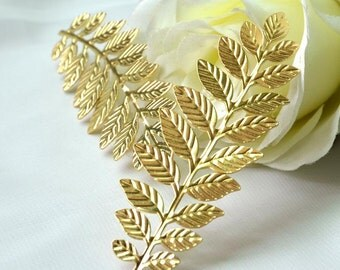 10pcs Long Leafy Branch Stamping Charms / Pendant Golden M152
