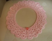 Lovely Pink Crochet Collar Detachable Lace Collar Accessory Necklace Jewelry With Pink Button